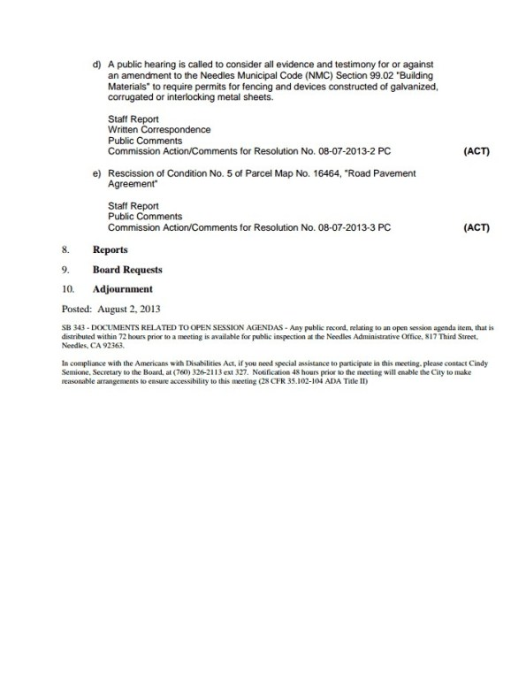 Needles Planning Commission Meeting- Agenda Picture 2- Wednesday, August 7th, 2013
