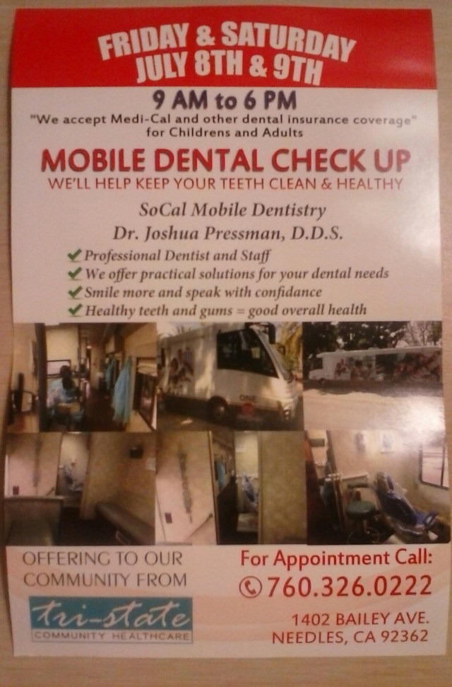 Needles, CA: Mobile dental check up at Tri-State Community ...