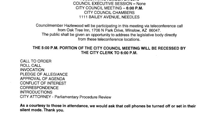 Needles, CA: Needles City Council and Successor Agency to the Redevelopment Agency Meeting is today.