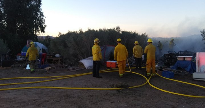 Breaking News: Needles, CA: Fire at homeless encampment east of Jack Smith Memorial Park.