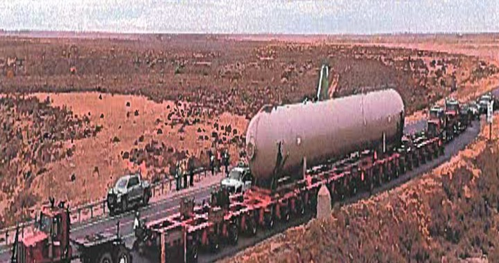 News Alert: Needles, CA: Large pressure vessel will be haul through the community beginning late Monday night.