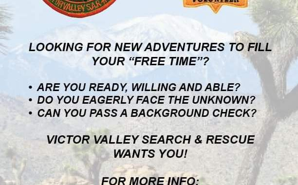 San Bernardino County, CA: Join the Victor Valley Search And Rescue.