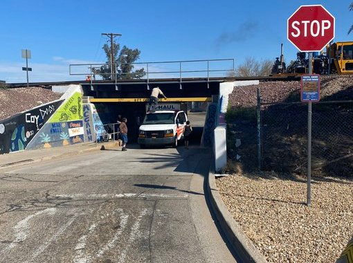 Downtown Needles, CA: Moving truck gets stuck underneath North K Street Underpass.