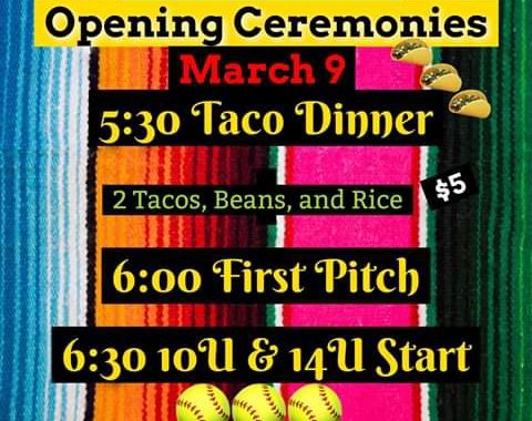 Needles, CA: Colorado River Area Girls Softball (CRAGS) Opening Ceremonies and Taco Dinner tonight at Nikki Bunch Memorial Field.