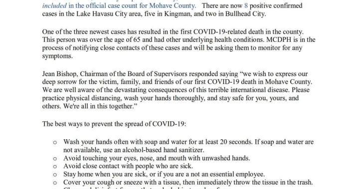 News Update: Mohave County, AZ: COVID-19 Information and Resources.