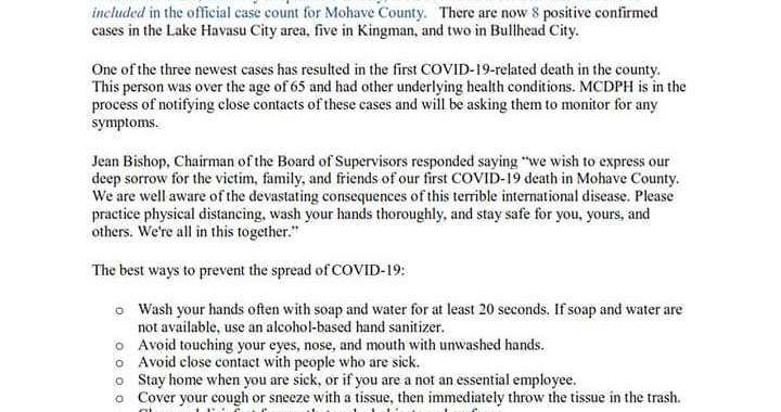 News Update: Mohave County, AZ: COVID-19 Information; Positive Cases: 15 and Deaths: 1.