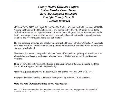 News Update: Mohave County, AZ: COVID-19 Information; Positive Cases: 59 and Deaths: 3.
