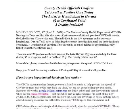 News Update: Mohave County, AZ: COVID-19 Information; Positive Cases: 62 and Deaths: 3.