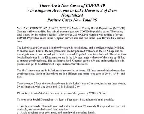 News Update: Mohave County, AZ: COVID-19 Information; Positive Cases: 96 and Deaths: 4.