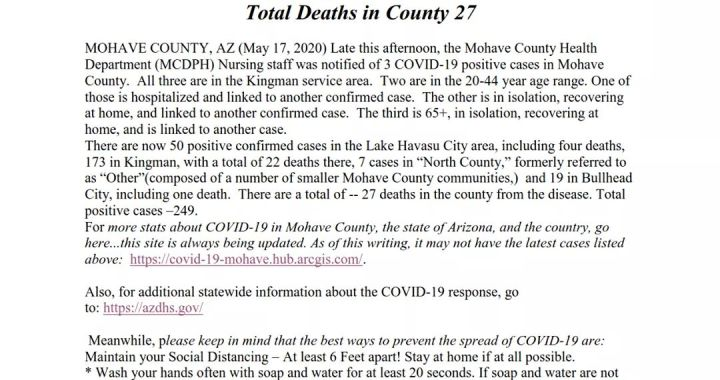News Update: Mohave County, AZ: COVID-19 Information; Positive Cases: 249 and Deaths: 27.