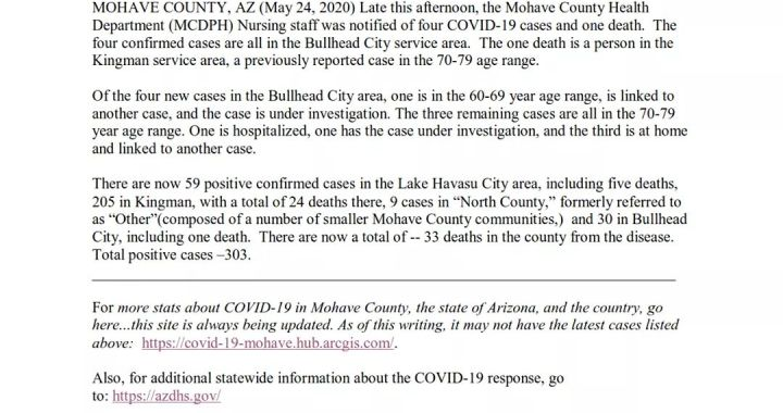 News Update: Mohave County, AZ: COVID-19 Information; Positive Cases: 303 and Deaths: 33.