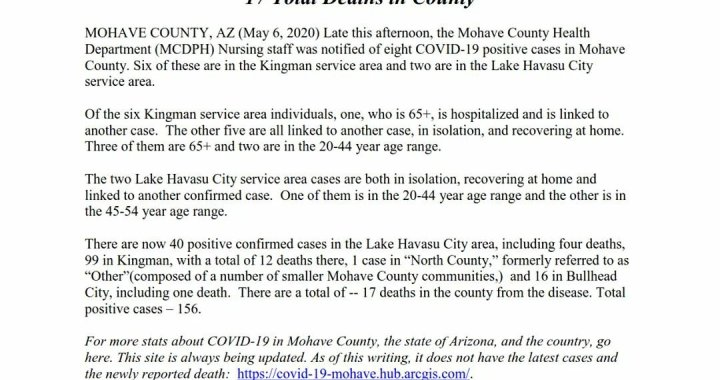 News Update: Mohave County, AZ: COVID-19 Information; Positive Cases: 156 and Deaths: 17.