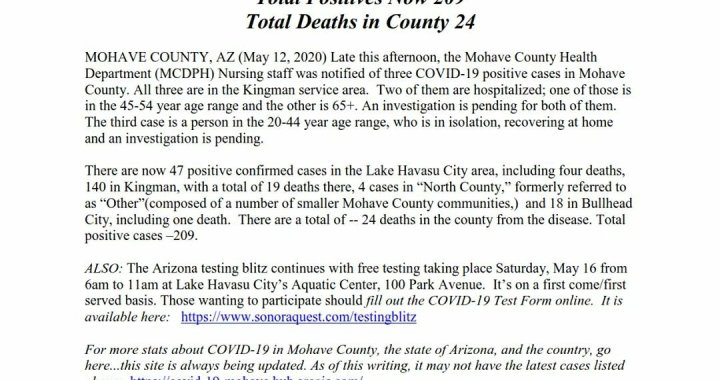 News Update: Mohave County, AZ: COVID-19 Information; Positive Cases: 209 and Deaths: 24.