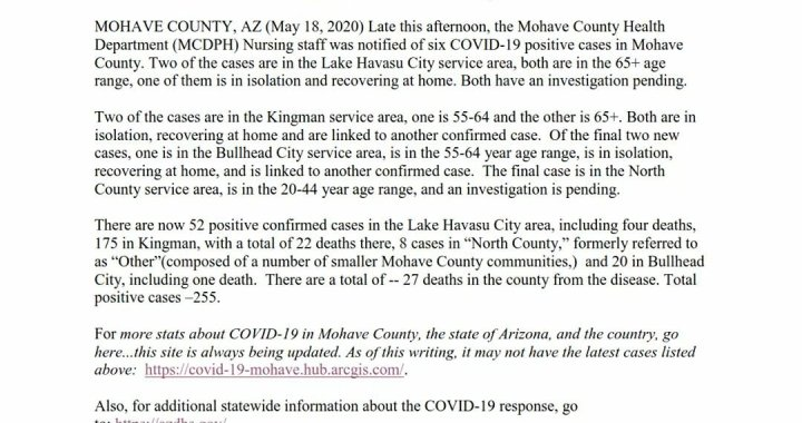 News Update: Mohave County, AZ: COVID-19 Information; Positive Cases: 255 and Deaths: 27.