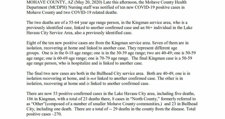 News Update: Mohave County, AZ: COVID-19 Information; Positive Cases: 270 and Deaths: 29.