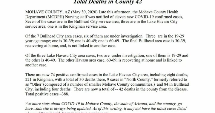 News Update: Mohave County, AZ: COVID-19 Information; Positive Cases: 388 and Deaths: 42.