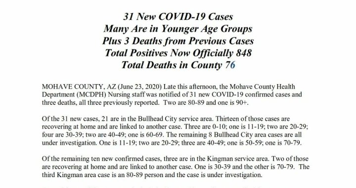 News Update: Mohave County, AZ: COVID-19 Information; Positive Cases: 848; Recovered Cases: 348; and Deaths: 76.