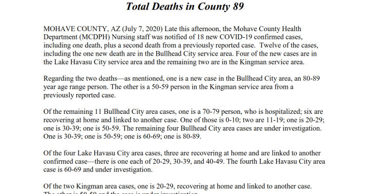 News Update: Mohave County, AZ: COVID-19 Information; Positive Cases: 1,454; Recovered Cases: 499; and Deaths: 89.