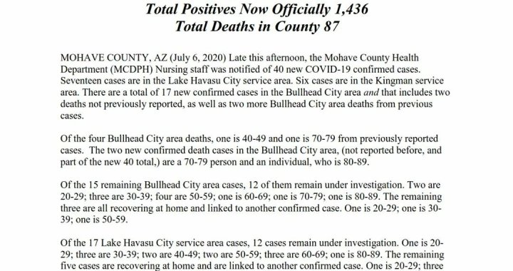 News Update: Mohave County, AZ: COVID-19 Information; Positive Cases: 1,436; Recovered Cases: 424; and Deaths: 87.