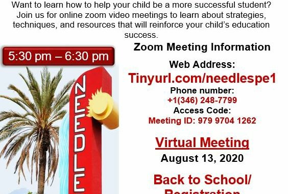 Needles, CA: Palo Verde River Consortium and Needles Unified School District online Zoom meeting Thursday with guest speaker Marie Armijo discussing Back to School and Registration.