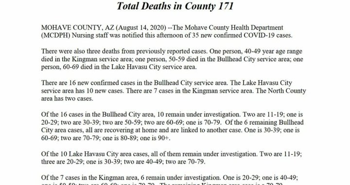 News Update: Mohave County, AZ: COVID-19 Information; Positive Cases: 3,347; Recovered Cases: 1,841; and Deaths: 171.