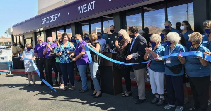 "Laughlin, NV: Community celebrated the grand opening of ""The Market,"" the only local grocery store in the community."
