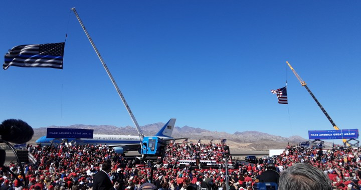 "News Update: Bullhead City, AZ: Thousands of people welcomed United States President Donald Trump to a ""Make America Great Again Victory Rally"" at the Laughlin/Bullhead International Airport."