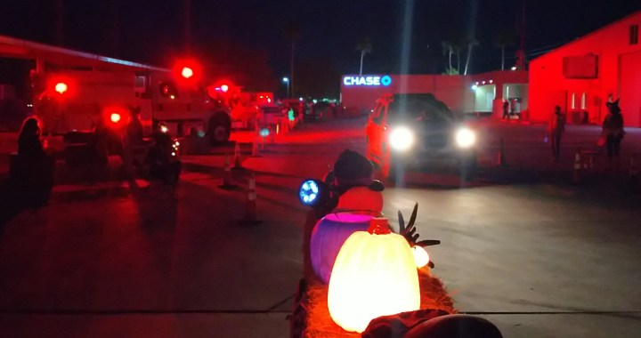 Mohave Valley, AZ: Mohave Valley Fire Department gave spooks and sweets during Trick or Treat Drive Thru.