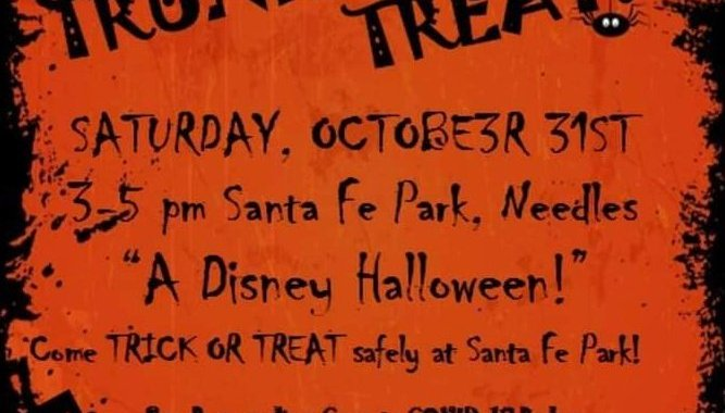 Downtown Needles, CA: Trunk or Treat Halloween 2020 event being held Saturday afternoon at Santa Fe Park.