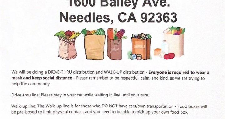 Needles, CA: Pacific Clinics Clubhouse will be distributing free food boxes today at 1600 Bailey Avenue.