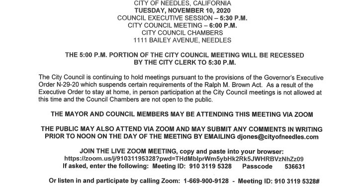 Needles, CA: Needles City Council, Needles Public Utility Authority and Successor Agency to the Redevelopment Agency Meeting on Tuesday.