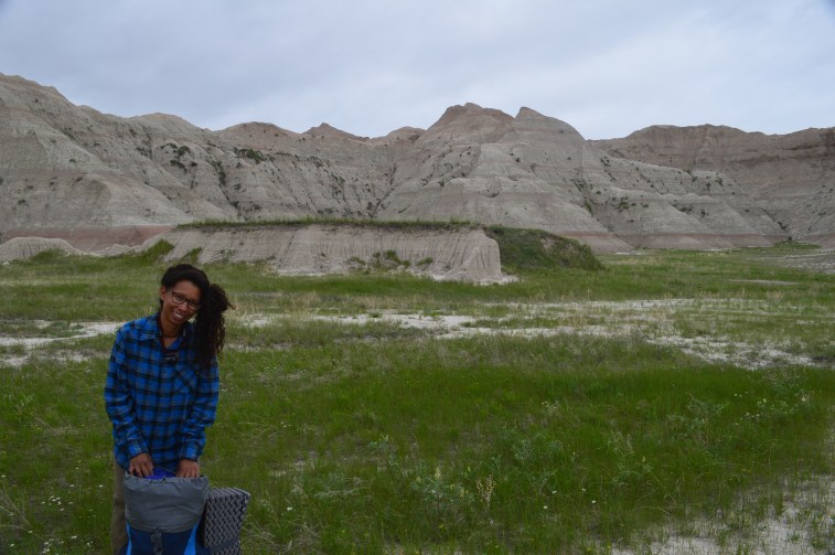 Erin on a backpacking trip in Badlands
