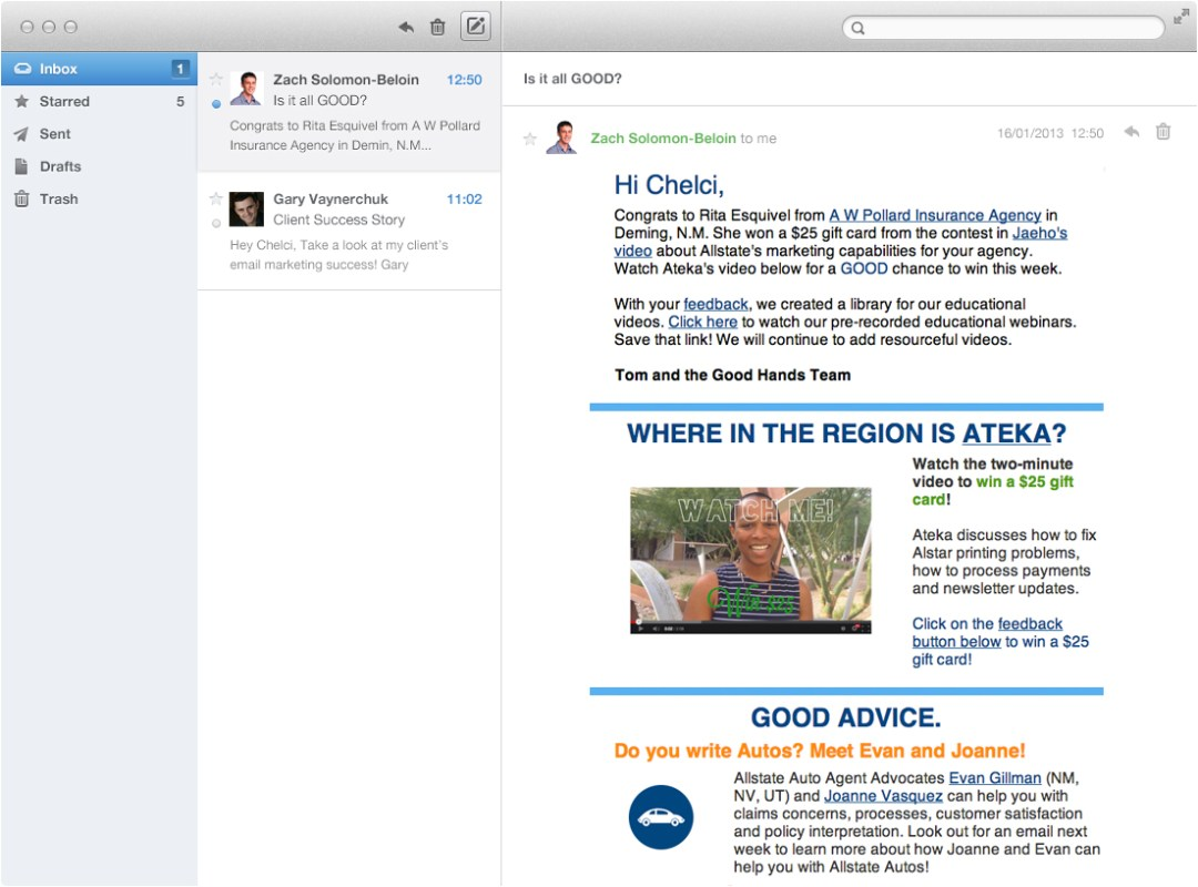 It's All Good Allstate Email Mockup