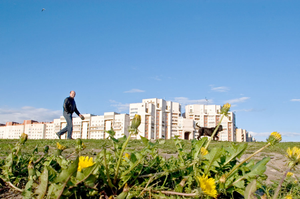 A man walks his dog in a strip of grass adjacent to the Gulf of Finland.