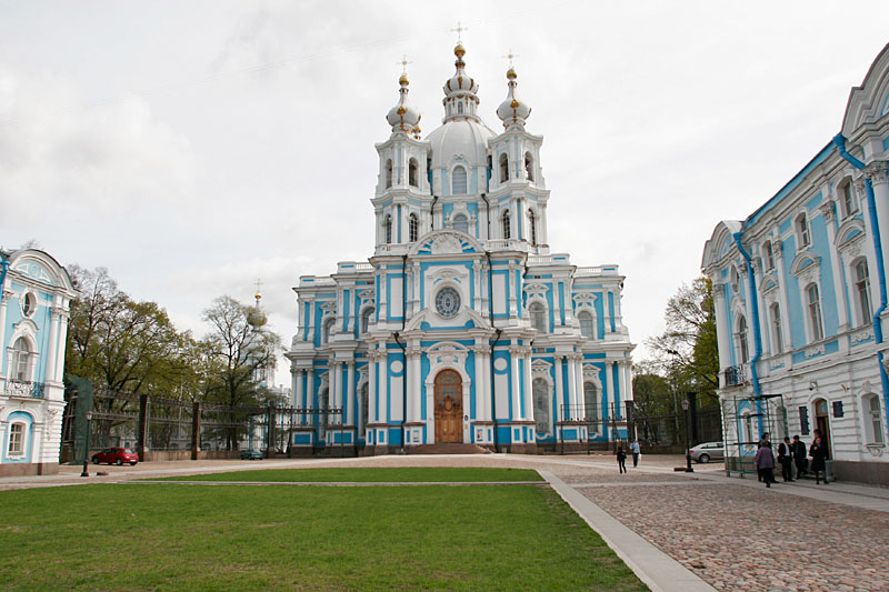 The Smolny Cathedral stands behind our school building.