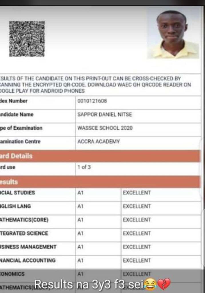 Meet sappor Daniel Nitse one of the Accra academy boy who got A in all subject