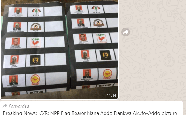 Akuffo Addo's picture cut off on some ballot papers at Awutu Twimi and Alhaji Salam Grinding Mill polling stations