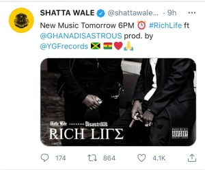 8AFD27A9 6F92 4601 BD3D 95DFE4FBA8DA Shatta Wale set to release another single dubbed 'Rich Life'