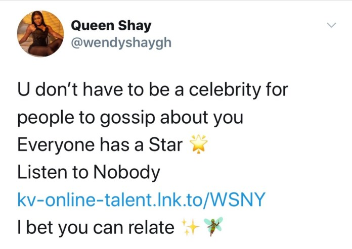 "B1A2D496 9996 40D1 84C2 53601DDA5BCB ""You don't have to be a celebrity before people gossip about you"" - Wendy Shay"