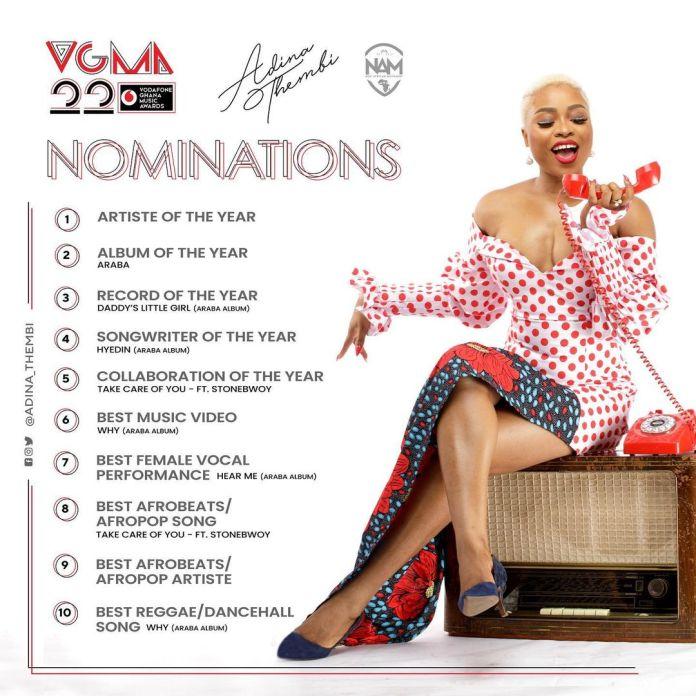 2021 VGMA Awards: Adina makes history as highest female nominee