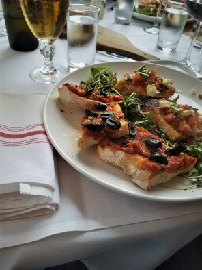 Sundried Tomato Pesto & Olive Bruschetta