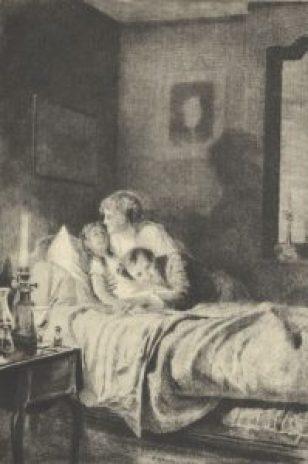 Helena i dr Deberle przy chorej Joasi, rys. Dantan, 1905 rok.