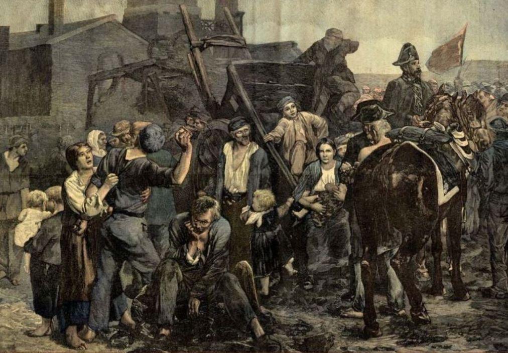 """Strajk górników"", mal. Alfred Philippe Roll (1880 rok)"