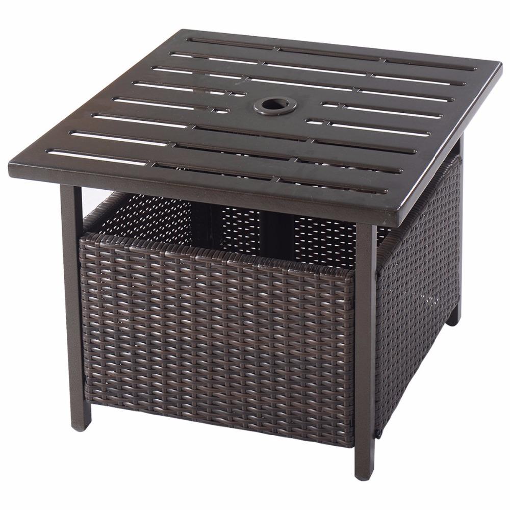 brown rattan wicker steel side table outdoor furniture zadrima pazar