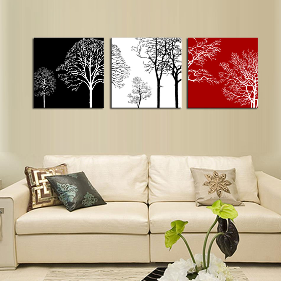 3 Panels Modern Painting Wall Art Black White and Red Tree Painting ...