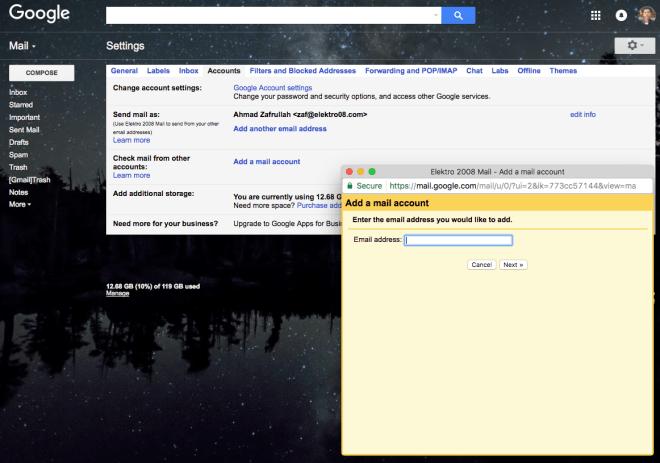 Gmail add a mail account