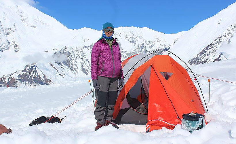 Jaahnavi getting cosy midway through her climb up Mount Denali, the highest peak in North America. (Photo Credit: Jaahnavi Sriperambaduru)