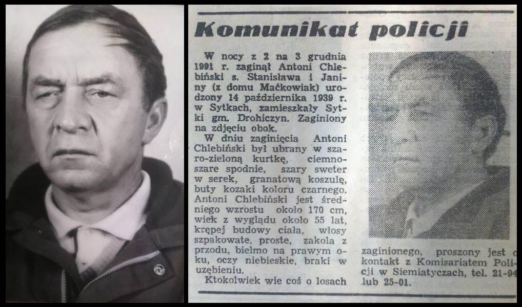 Antoni Chlebiński- Zaginięcie z podejrzeniem zabójstwa