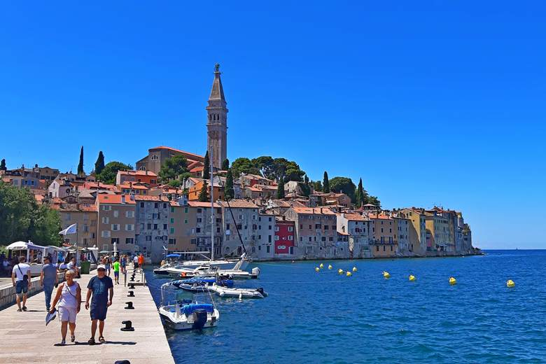 Day trip from Zagreb, Istria, Adriatic coast, sightseeing of Rovinj peninsula, Euphemia church, bell tower