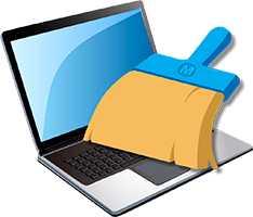 Logo tozdan bir dizüstü bilgisayar temizleme
